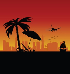 City with boat and beach stuff art vector
