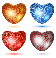 Set of shiny hearts with curls vector