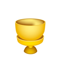 A golden bowl with pedestal on white background vector