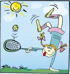 Cartoon girl playing tennis vector