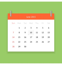Calendar page for june 2015 vector