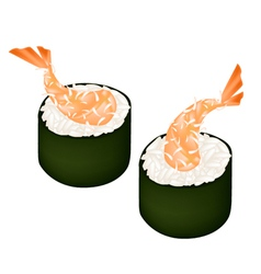 Ebi tempura sushi roll or fried shrimp maki vector