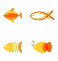 Abstract fish logos set for seafood restaurant or vector