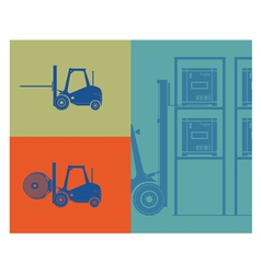 Silhouettes of forklifts forklift loading goods vector