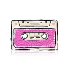 Retro cassette sketch for your design vector