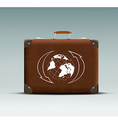 Leather suitcase with a tour sticker vector