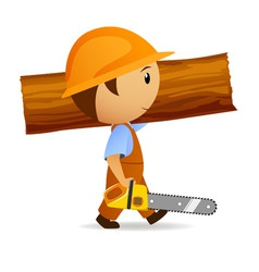 Cartoon woodcutter with chainsaw and trunk vector