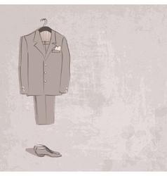 Sketch groom suit vector