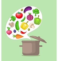 Vegetables and pan vector