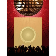 Disco party poster with disco ball and crowd vector