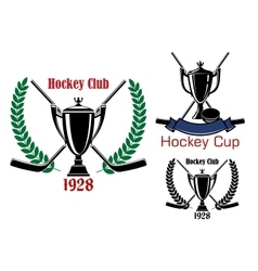 Ice hockey cup and club emblems vector