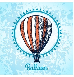 Hot air balloon poster sketch vector