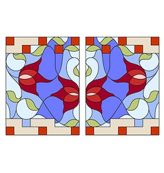 Stained glass window composition of stylized vector