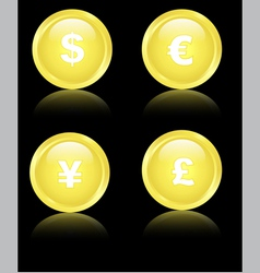 Golden financial icons vector