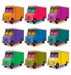 9 colorful trucks vector