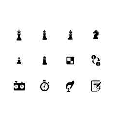 Chess icons on white background vector