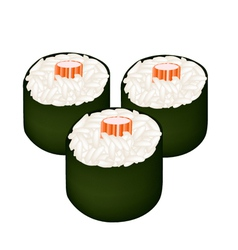 Kani maki or crab stick sushi roll vector