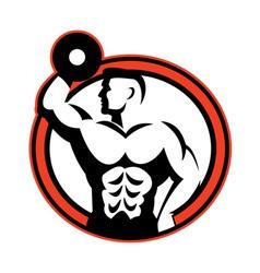 Bodybuilder lifting dumbbell retro vector