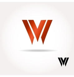 W letter bright colors logo - vector
