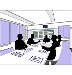 Businessmen meeting silhouette vector