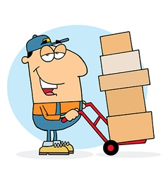 Delivery guy using a dolly to move boxes vector