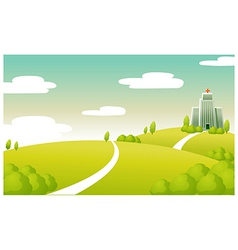Hospital building green landscape vector