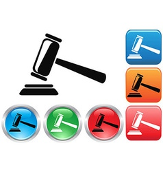 Gavel button icons set vector