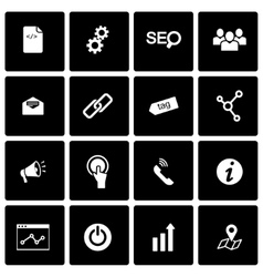 Black seo icon set vector