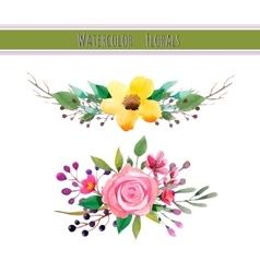 Watercolor flowers with foliage vector