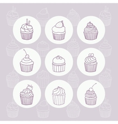 Nine hand drawn outline cupcakes vector