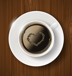 Cup of coffee and heart of the bubbles vector