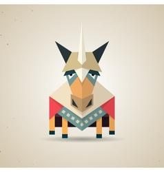 Magic cute origami unicorn from folded paper vector
