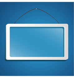 Glass frame suspended from a rope isolated on blue vector