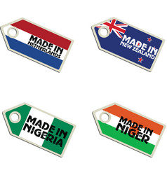 Label made in netherlands new zealand niger nigeri vector