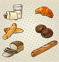 Colorful bakery products set vector