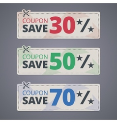 Scissors cutting coupons with discounts vector