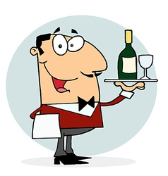 Caucasian male waiter serving wine vector