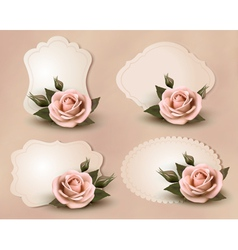 Collection of retro greeting cards with pink rose vector