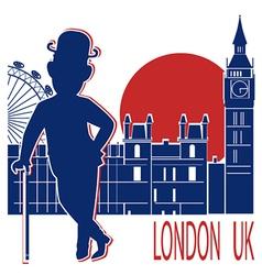 Gentleman with london background vector
