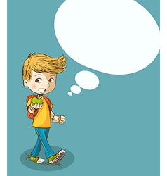 Education back to school boy with social bubble vector