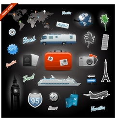 Travel icons elements set vector