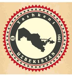 Vintage label-sticker cards of uzbekistan vector