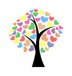 Tree with hearts vector