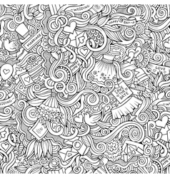 Cartoon doodles wedding seamless pattern vector