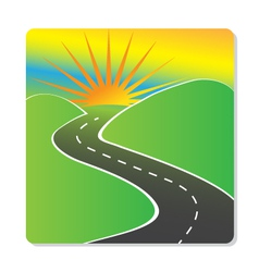Sun hills and road design vector