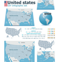 United states maps with markers vector