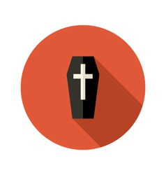 Black coffin flat icon with cross vector