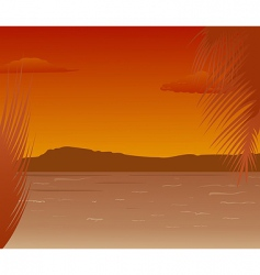 Sea landscape with mountains sunset vector