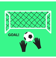 Soccer and football goal with ball and hands eps10 vector