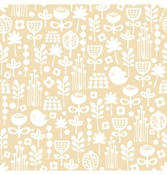 Cute seamless pattern of cartoon birds and flora vector